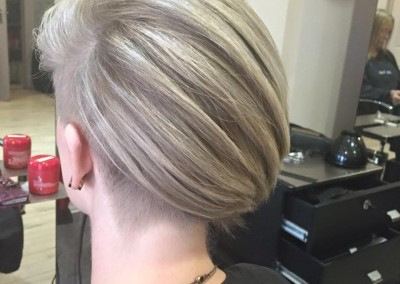 Icy blonde and a grey edgy bob
